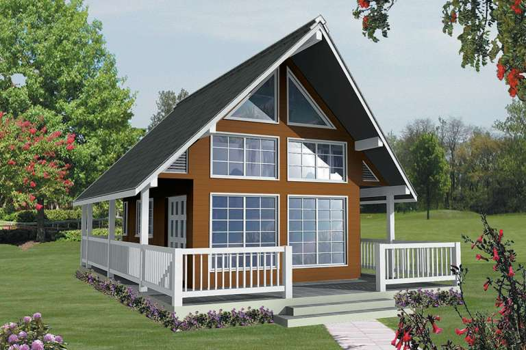 A Frame  House Plan #4177-00004 Elevation Photo