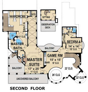 Second floor for House Plan #5445-00314