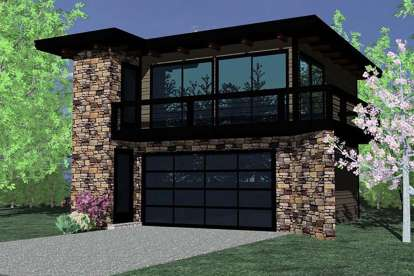 1 Bed, 1 Bath, 615 Square Foot House Plan - #1022-00021