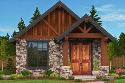 1 Bed, 1 Bath, 640 Square Foot House Plan - #1022-00086