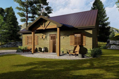 1 Bed, 1 Bath, 905 Square Foot House Plan - #963-00187