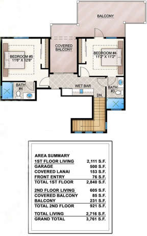 Upper Floor for House Plan #5565-00020