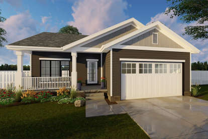 1 Bed, 1 Bath, 831 Square Foot House Plan - #963-00307