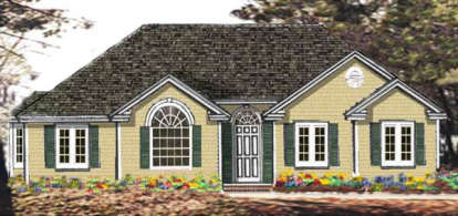 3 Bed, 2 Bath, 1373 Square Foot House Plan - #033-00024