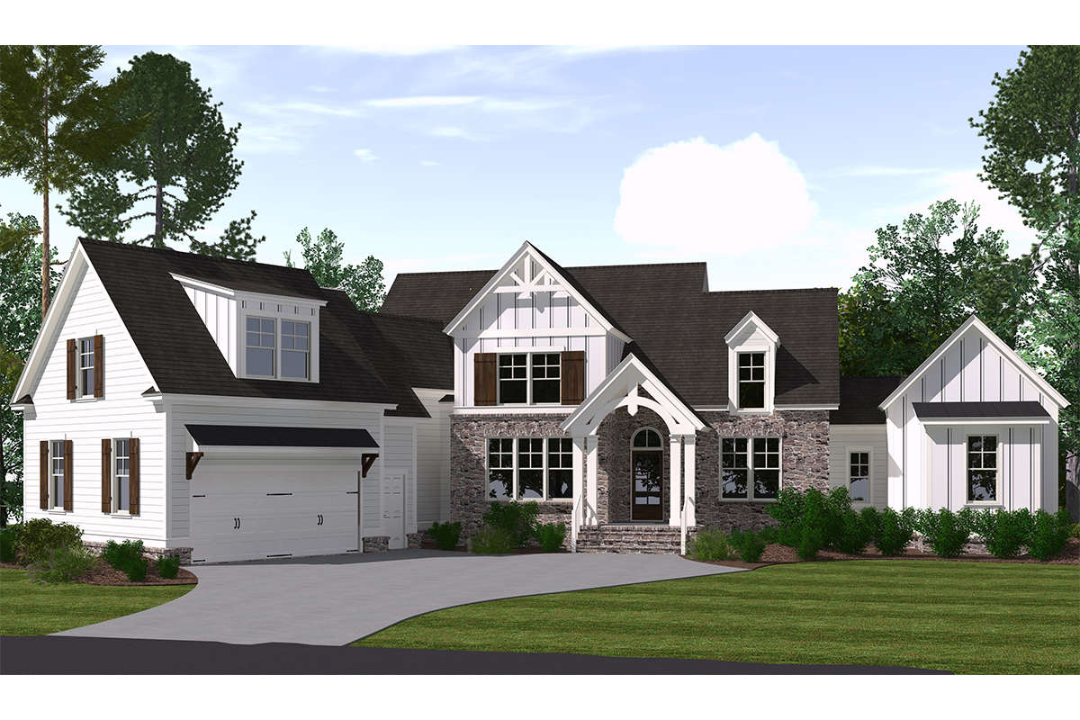 Modern Farmhouse Plan: 3,107 Square Feet, 5 Bedrooms, 3.5 ...