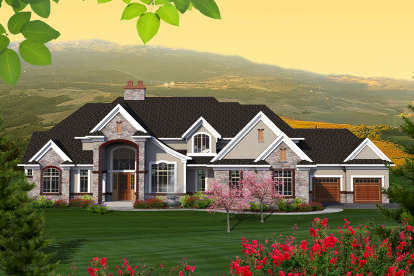 4 Bed, 3 Bath, 5050 Square Foot House Plan - #1020-00182