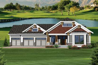 2 Bed, 2 Bath, 1617 Square Foot House Plan - #1020-00229