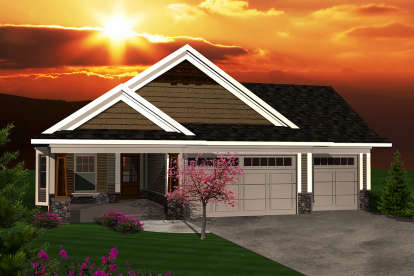 2 Bed, 2 Bath, 1353 Square Foot House Plan - #1020-00278