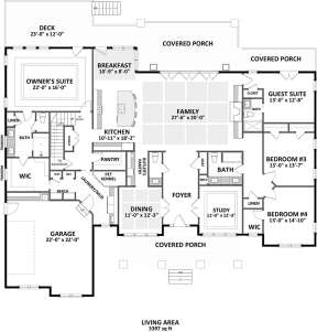 Main Level 1st floor for House Plan #6849-00050