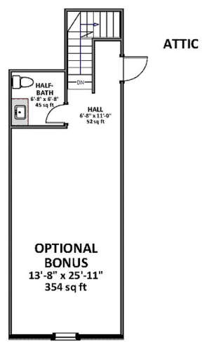 Optional Bonus room upper  for House Plan #6849-00050