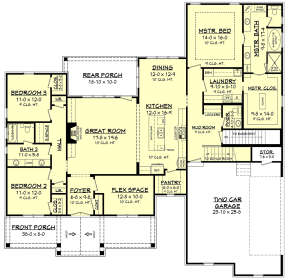 Main Floor w/ Optional Basement Stairs for House Plan #041-00180
