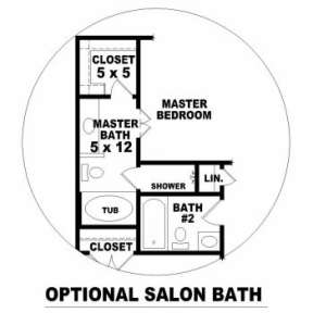 Optional Master Bath for House Plan #053-00004