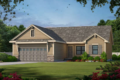 3 Bed, 2 Bath, 1265 Square Foot House Plan #402-01567