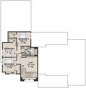 Second Floor for House Plan #098-00304