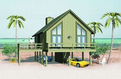 2 Bed, 1 Bath, 841 Square Foot House Plan - #053-00013