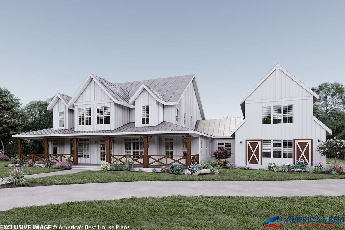 Modern Farmhouse Plan: 4,357 Square Feet, 5 Bedrooms, 5 ...