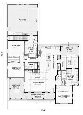 Main Floor w/ Basement Stair Location for House Plan #3125-00026