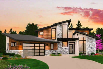 5 Bed, 4 Bath, 3721 Square Foot House Plan - #1022-00118
