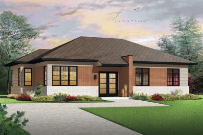 3 Bed, 1 Bath, 1392 Square Foot House Plan - #034-01159