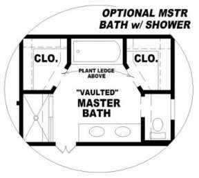 Optional Master Bath for House Plan #053-00106