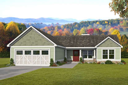 3 Bed, 2 Bath, 1368 Square Foot House Plan #6082-00153