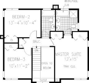 Upper FLoor for House Plan #033-00034