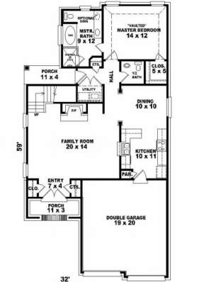 First Floor for House Plan #053-00129