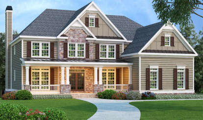 5 Bed, 4 Bath, 3919 Square Foot House Plan - #009-00007
