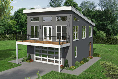 1 Bed, 2 Bath, 831 Square Foot House Plan - #940-00168