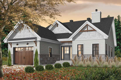 2 Bed, 2 Bath, 1441 Square Foot House Plan - #034-01229