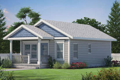 2 Bed, 1 Bath, 682 Square Foot House Plan #402-01611