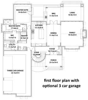 Main Floor w/ Optional 3 Car Garage for House Plan #9401-00107