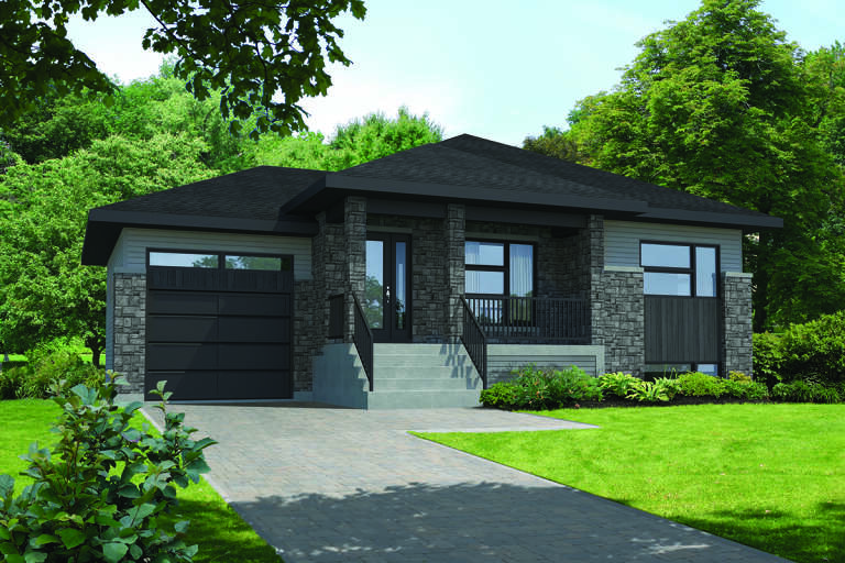 Modern  House Plan #6146-00379 Elevation Photo