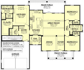 Main Floor w/ Basement Stair Location for House Plan #041-00221
