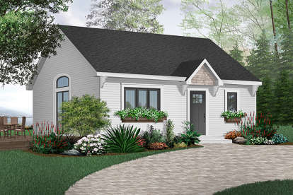 1 Bed, 1 Bath, 784 Square Foot House Plan - #034-00002