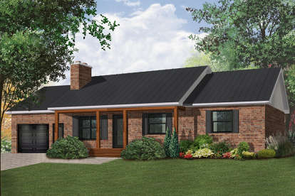 3 Bed, 1 Bath, 1176 Square Foot House Plan - #034-00003