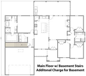 Main Floor w/ Basement Stair Location for House Plan #4534-00037