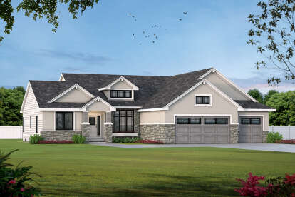 4 Bed, 3 Bath, 3521 Square Foot House Plan - #402-01676