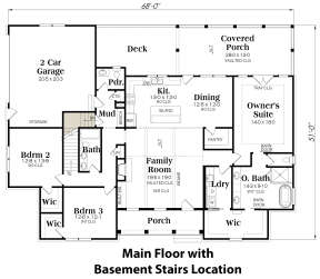 Main Floor w/ Basement Stair Location for House Plan #009-00300