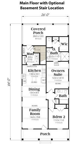 Main Floor w/ Basement Stair Location for House Plan #009-00303