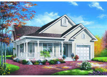 2 Bed, 1 Bath, 1124 Square Foot House Plan - #034-00007