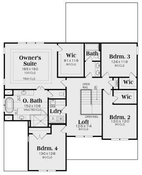 Second Floor for House Plan #009-00304