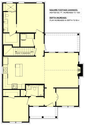 Main Floor w/ Basement Stair Location for House Plan #041-00249