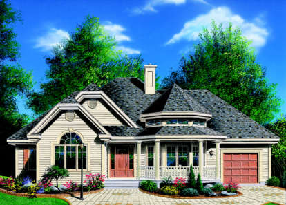 3 Bed, 1 Bath, 1370 Square Foot House Plan - #034-00009