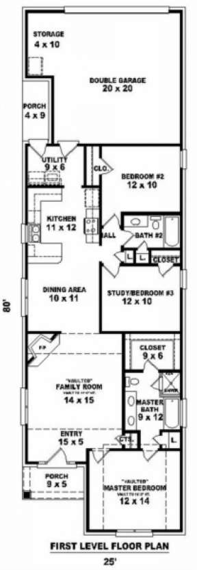 Floorplan 1 for House Plan #053-00359
