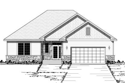 2 Bed, 1 Bath, 1388 Square Foot House Plan - #098-00065
