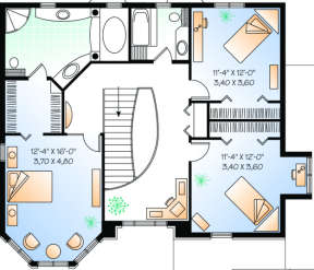 Second Floor for House Plan #034-00034