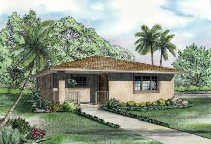 2 Bed, 1 Bath, 1052 Square Foot House Plan - #168-00001