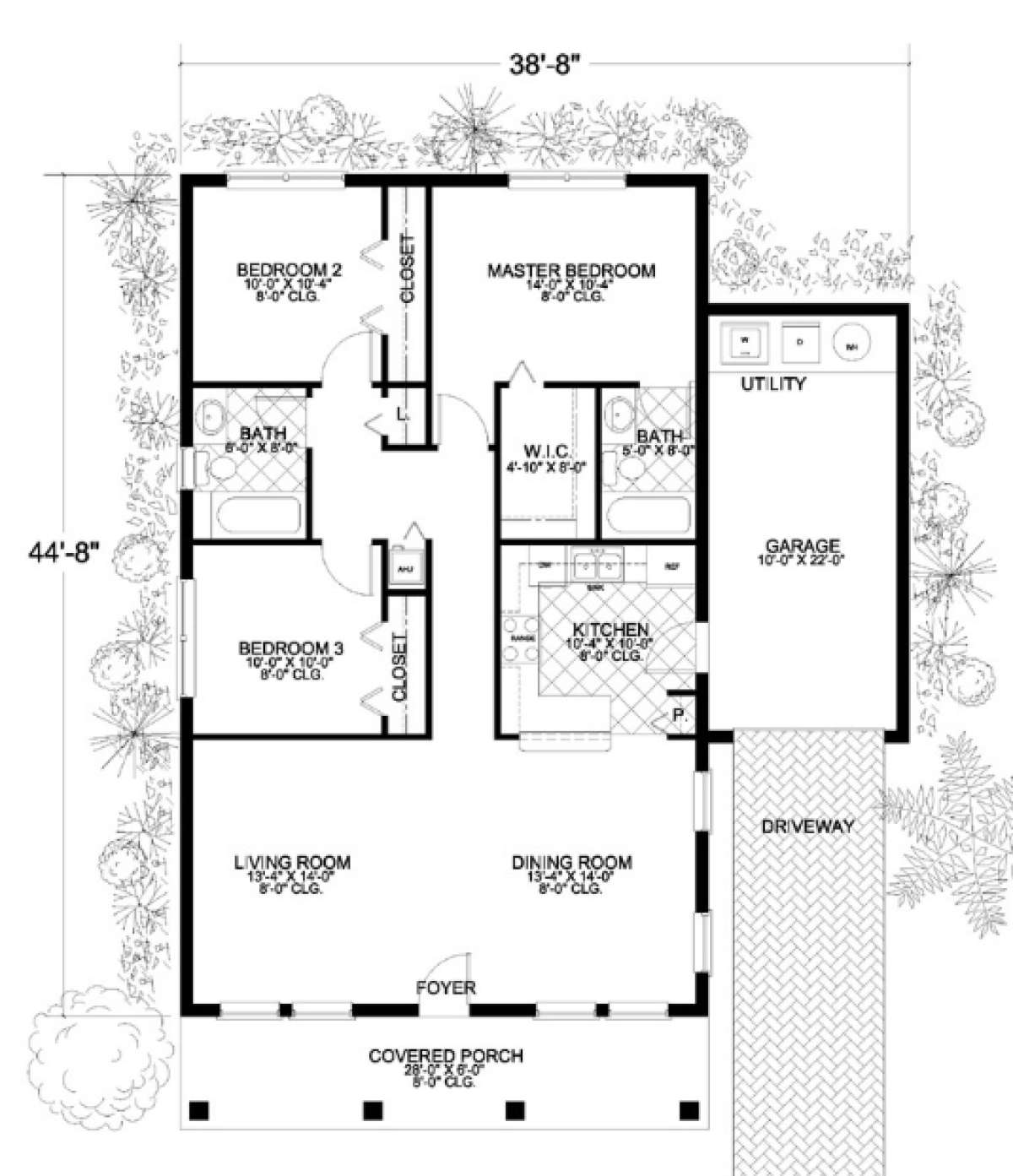 House Plan 168-00003 - Ranch Plan: 1,250 Square Feet, 3 Bedrooms, 2 on