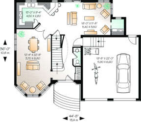 First Floor for House Plan #034-00039